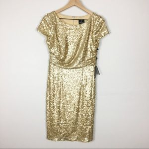 Adrianna Pappell Short Sleeve Gold Sequin Dress